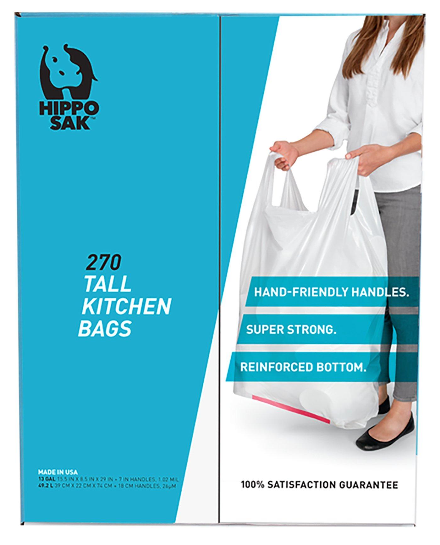 Handle Trash Bag, Hippo Sak® with Power Strip, 13 Gallon Tall Kitchen, 270 Count