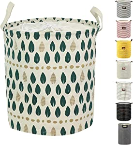 Clothes Laundry Hamper Storage Bin Large Collapsible Storage Basket Kids Canvas Laundry Basket for Home Bedroom Nursery Room (Large, Leaf)