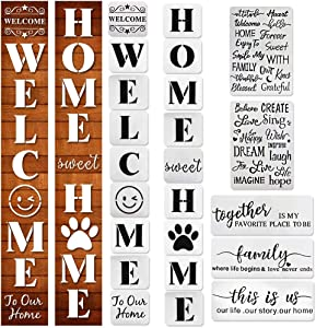 23PCS Large Welcome and Home Sign Stencils Set,9PCS Welcome Stencil,9PCS Sweet Home Stencil, 5PCS Inspirational Word Stencils Funny Family Sign Stencil, Reusable Template for Home Decor & DIY Projects