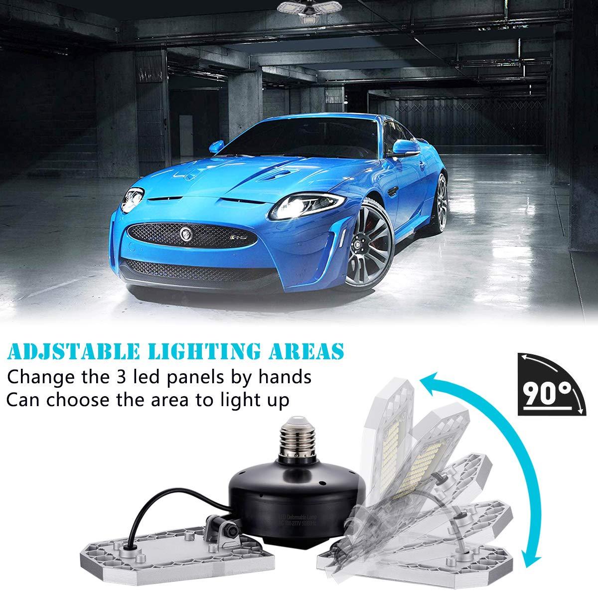 No Motion Detection Garage Lighting Deformable Garage Light 9600LM 80W Warm White 3000K Shop Lights for Garage Led Garage Lights with 3 Adjustable Panels,Garage Ceiling Light for Workshop//Basement