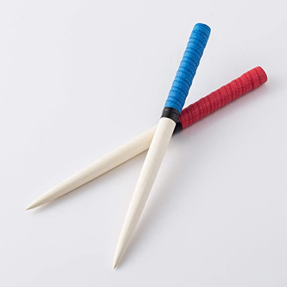 太鼓の達人 マイバチ テーパー ロール仕様 アーケードゲーム ツートンカラー 直径20ミリ全長350mm 朴の木 (35) (赤&青)