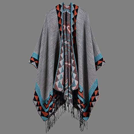 Womens Loose Baggy Open Front Leopard Cape Shawl Ladies Outerwear Cardigan Wrap