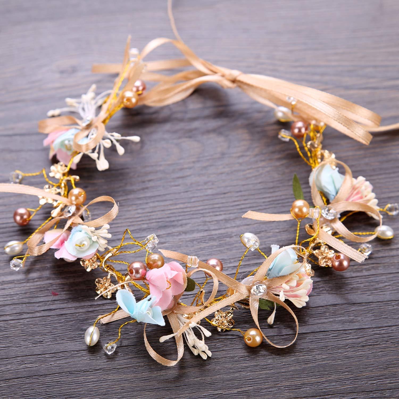 Bridal Hair Wreaths Pearl Rhinestone Flower Headband Crown Wedding Garland Hair Band,As Shown