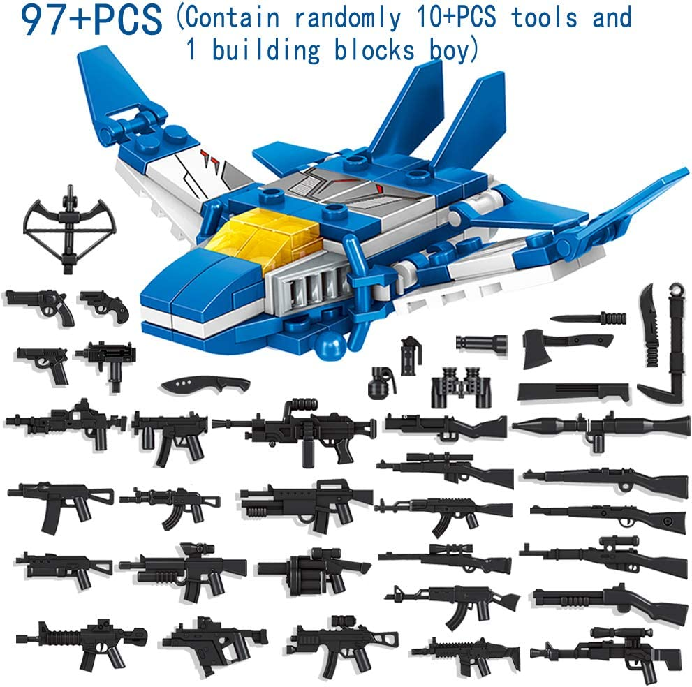 IROCH 6 in 1 Military Building Blocks Robot Bricks Toy Creative STEM Set Best Transforming Toy Gift for Kids 6 Years Up Compatible with All Major Brands 901ABCDEF