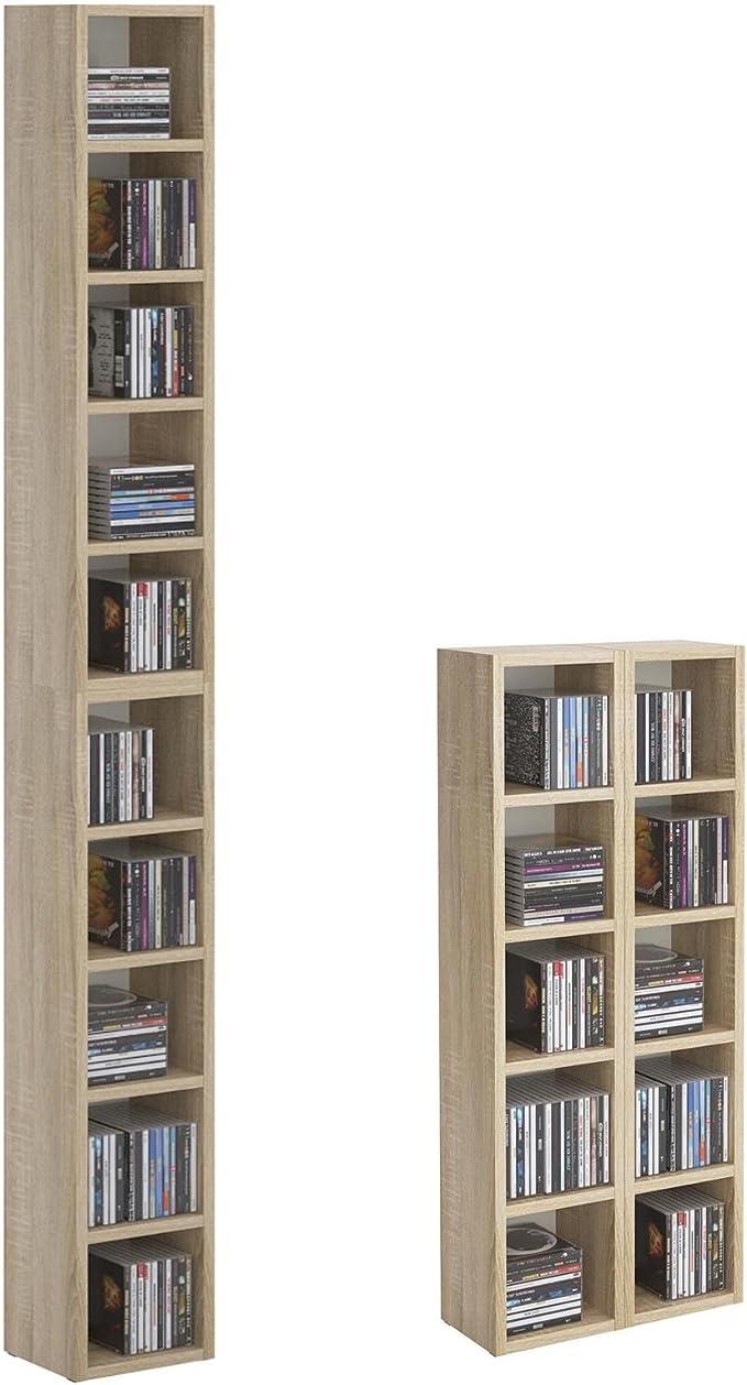 CD DVD Estantería Soporte Chart, en Roble Sonoma con 10 compartimentos para guardar hasta 160 CD, 20 x 186,5 cm (ancho x altura)