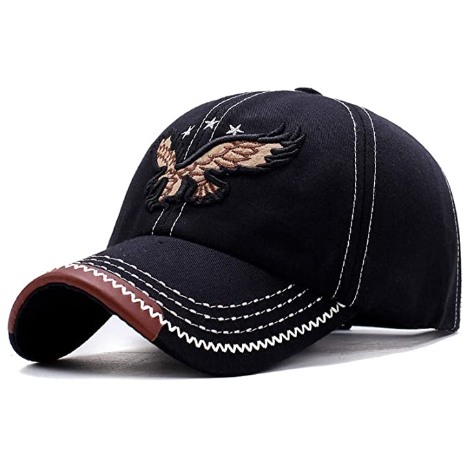 109793c354b New 3D Eagle Embroidery Baseball Cap Male Cap Hip Hop Flat Along Snapback  Hats Lovers Cap for Men and Women Black at Amazon Men s Clothing store
