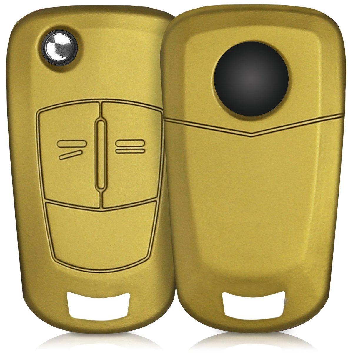 kwmobile Funda de Silicona para Llave Plegable de 2 Botones para Coche Opel Vauxhall - Carcasa Protectora Suave de Silicona - Case Mando de Auto Oro ...