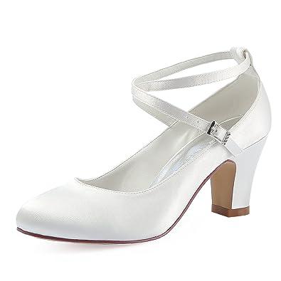537291a8d436 ElegantPark HC1808 Women Cross Ankle Strap Pumps Chunky Heel Closed Toe  Satin Bridal Wedding Shoes Ivory