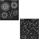 2 pcs Wood 6X6 CrafTreat Stencil Crafting Fabric DIY Albums | Reusable Painting Template for Journal Tile Floor Home Decor Scrapbook and Printing on Paper Sentiments /& Script Wall