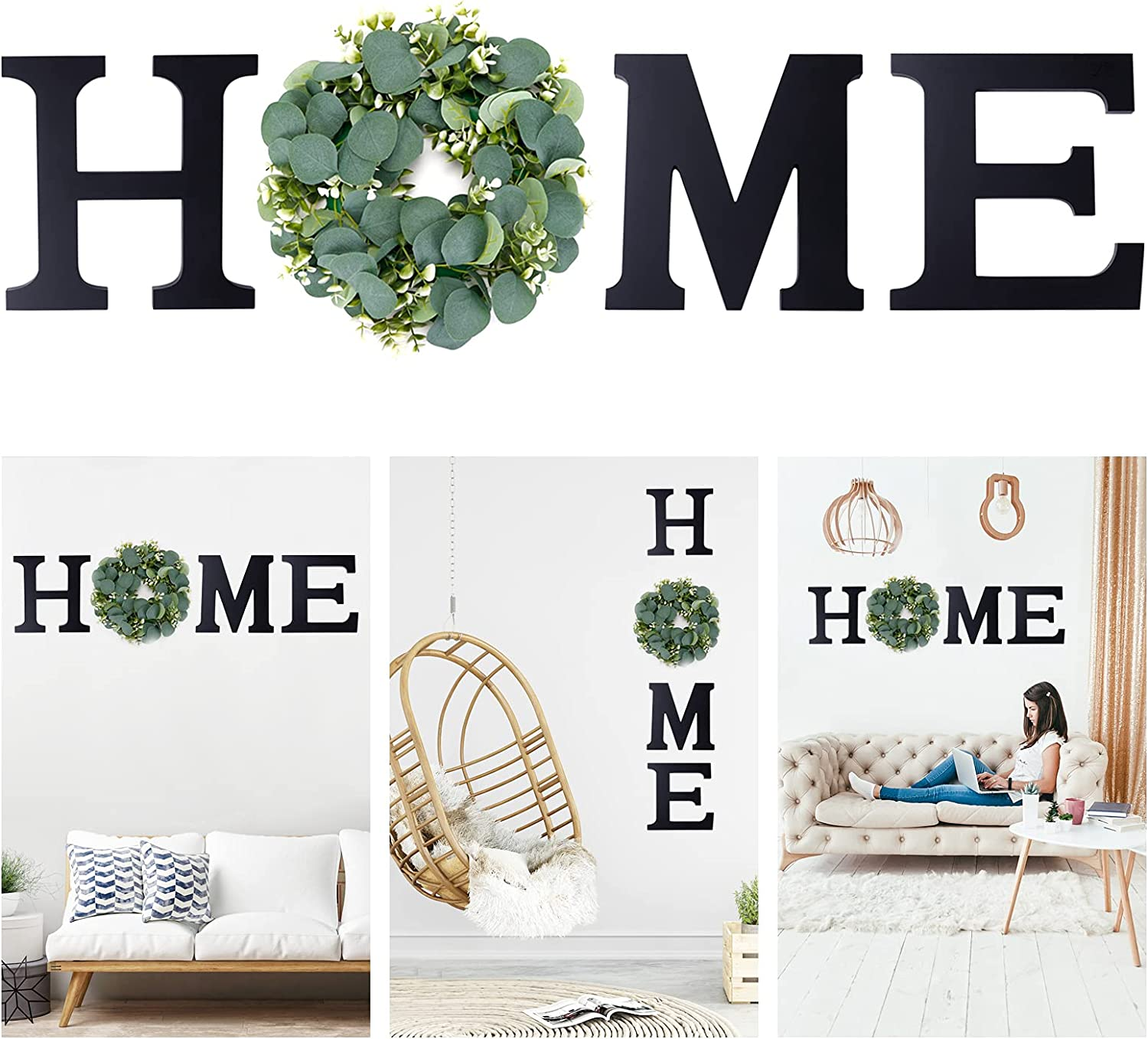 Newtion Wooden Home Sign, Wall Letters with Wreath Artificial Eucalyptus for O, Rustic Hanging Home Letters Farmhouse Wall Art Decor for Living Room, Dining Room, Kitchen, Entryway, Housewarming Gift