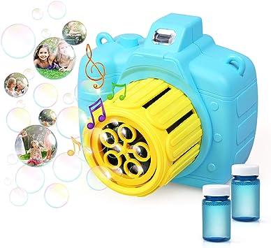LinStyle Máquina de Burbujas para Niños, Máquina Sopladora de Burbujas Portátil con 2 Botellas de Burbujas para Apto para Fiestas, Cumpleaños, Bodas, Juegos de Interior al Aire Libre: Amazon.es: Juguetes y juegos