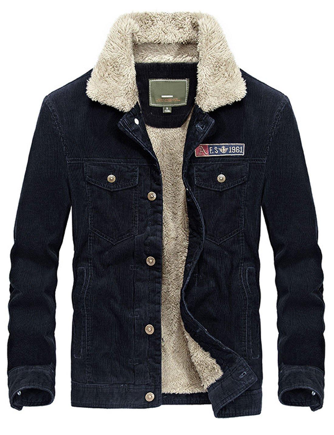 Yeokou Men's Vintage Slim Sherpa Lined Shearling Corduroy Trucker Jacket (X-Large, Black) by Yeokou