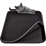 MyfatBOSS Large Cat Litter Mat Litter Trapping, Double Waterproof Layer for Litter Box Mat, Larger Holes with Clean Mat for Messy Cats (Black)