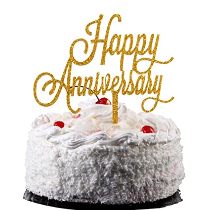 Amazon Com Happy Anniversary Cake Topper Gold Color Arcylic Cake