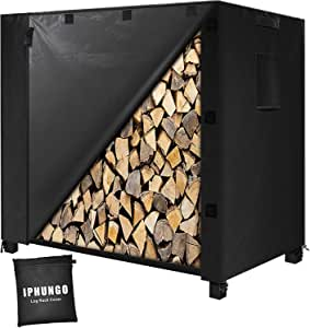 """IPHUNGO Firewood Log Rack Cover, 600D Oxford Heavy Duty Outdoor Waterproof All- Weather Outdoor Protection for Firewood Rack with Cover (48"""" 24"""" 42"""",4Ft,Black)"""