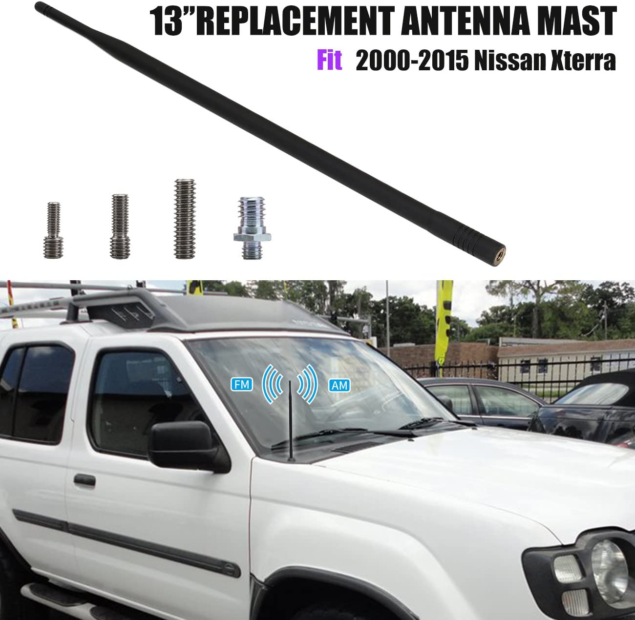 13 Short Rubber Antenna Replacement Mast for Nissan Xterra 2000-2015