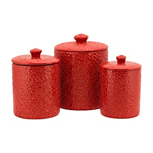 10 Strawberry Street CAN RED Fleur Embossed Kitchen Canister Set, 3 Piece