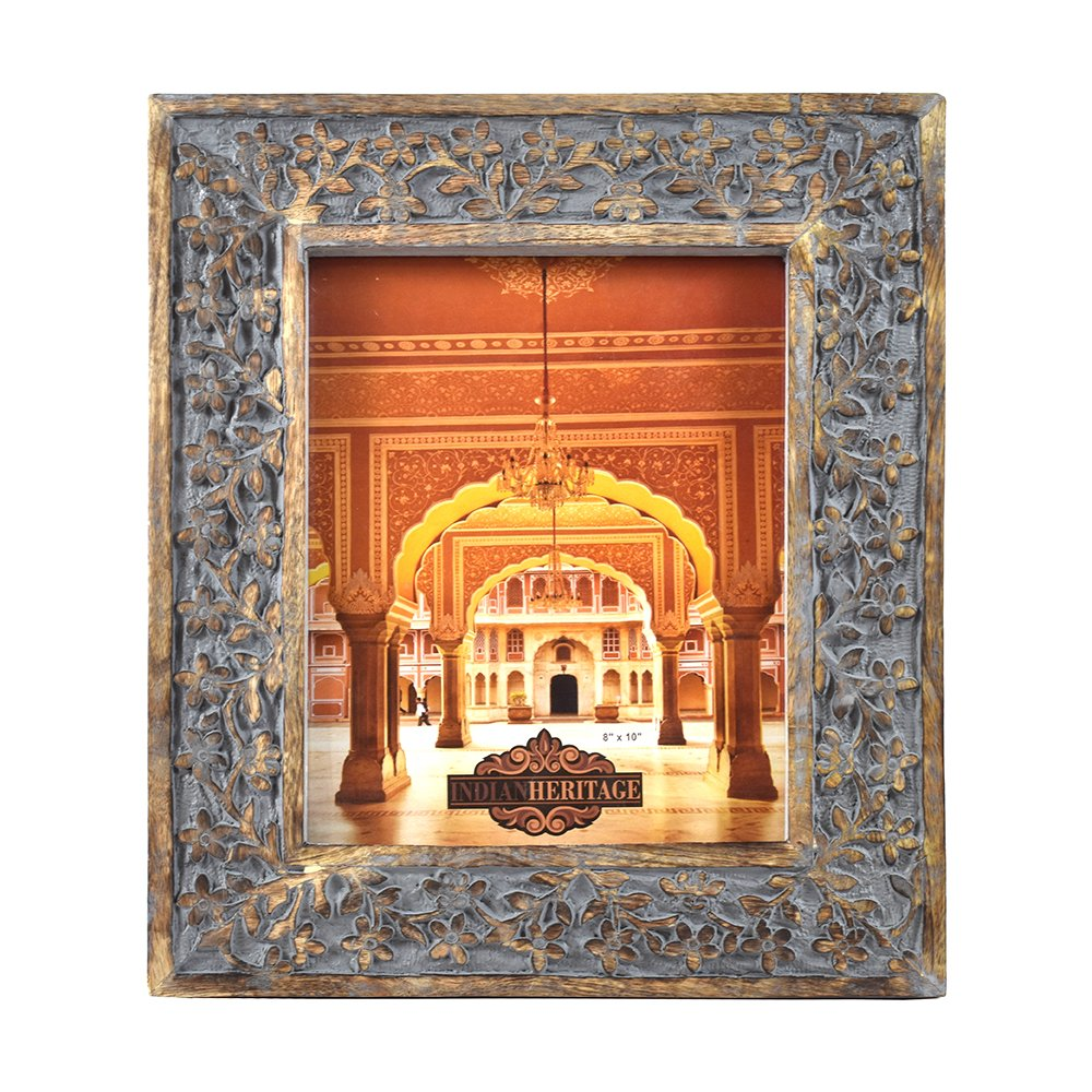 Indian Heritage Wooden Photo Frame 8x10 Mango Wood Carving Design with Grey Distress Finish