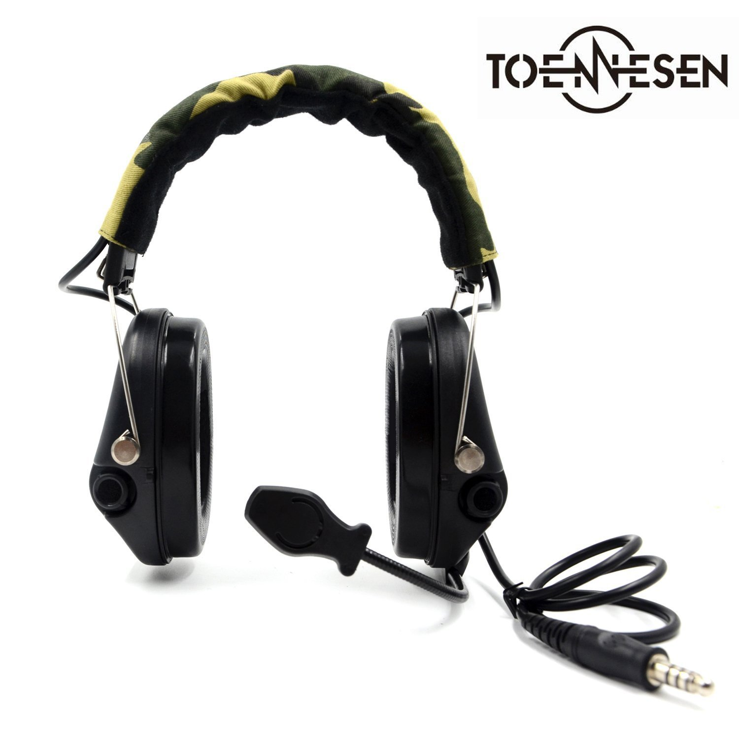Electronic Earmuff Hearing Protection Tactical Headset with Camo-band, Black Cups for Hunting and Shooting by TOENNESEN