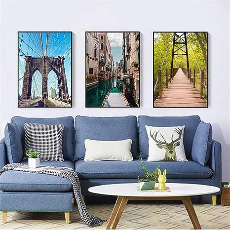 tzxdbh Paisaje Moderno Cartel Barco Puente Lienzo Pintura ...