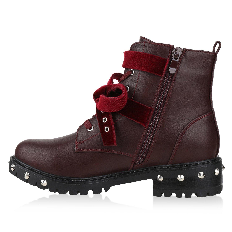 Damen Biker Boots Schnürstiefel Schnallen Nieten Stiefeletten Schuhe 135636 Dunkelrot 41 Flandell 23s558L