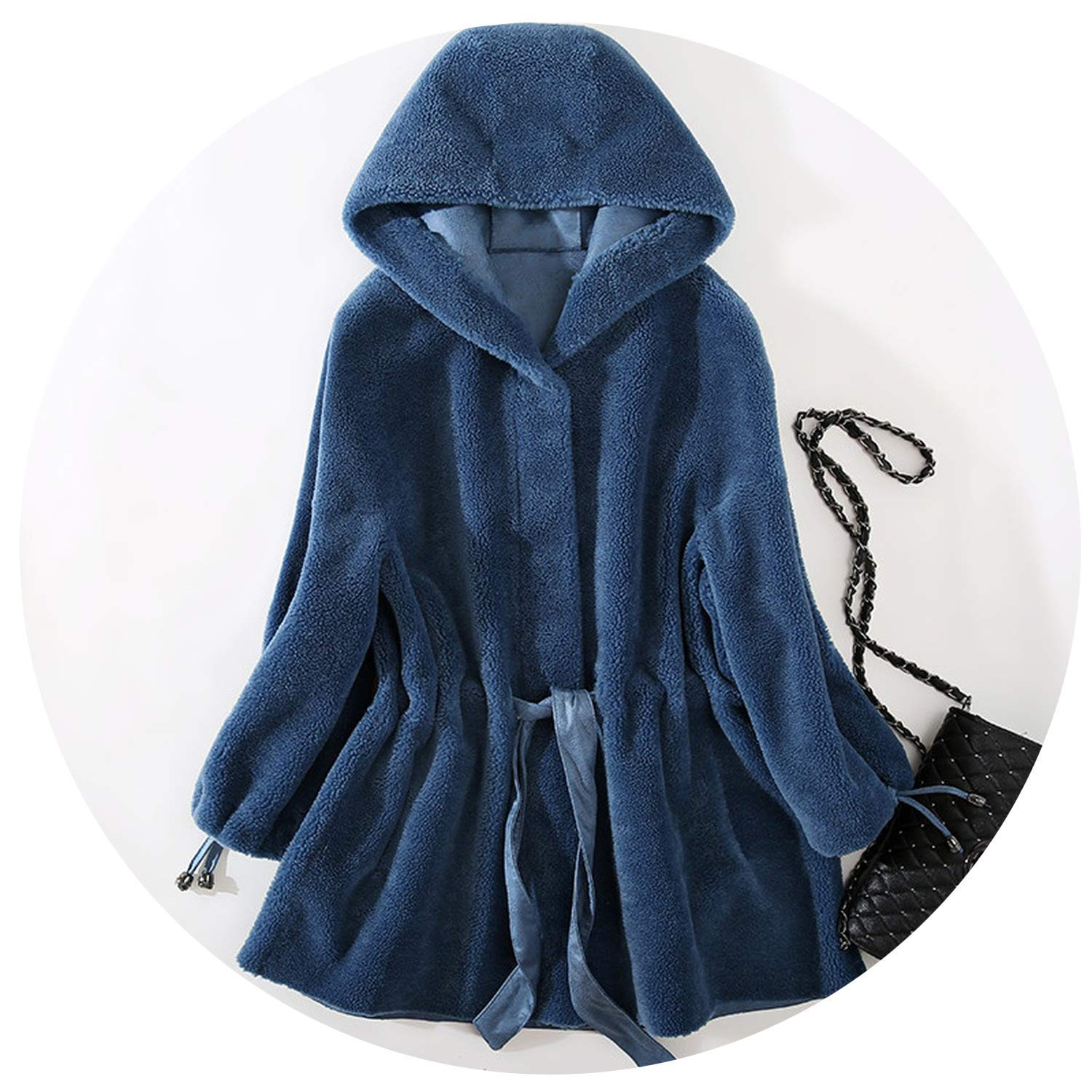 Women's F-ur Coat Real Wool Female Jacket Loose Sheep Shearling F-ur Coats Thick Jackets Six Toys for Women Shirt,As Picture