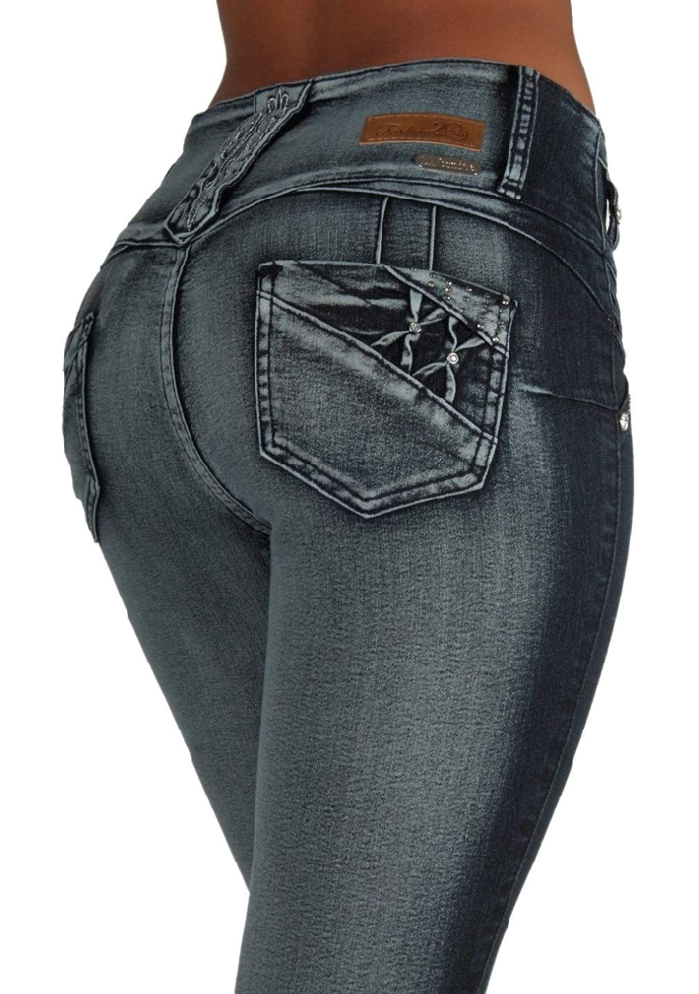 Style LA6A154aS – Colombian Design, Mid Waist, Butt Lift, Skinny Jeans in Washed Dark Blue Size 17