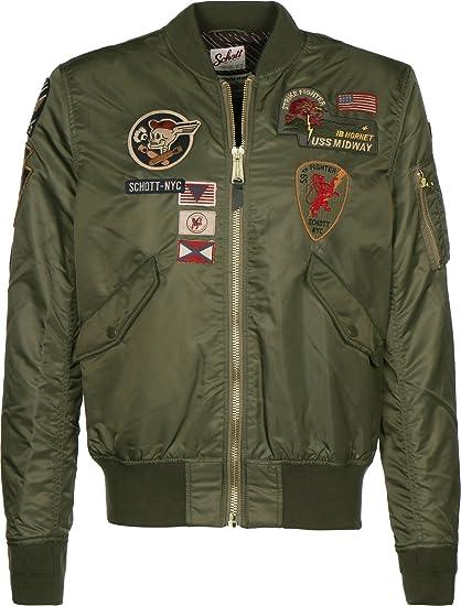 811955eea53b Schott NYC Uomo Giacche Giubbotto Bomber NYC Jkt AC Badges  Amazon.it   Abbigliamento