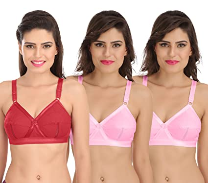 9d60e09919 Sona Perfecto Women Plus Size Cotton Bra- Full Coverage Non Padded Pack of  3 Size