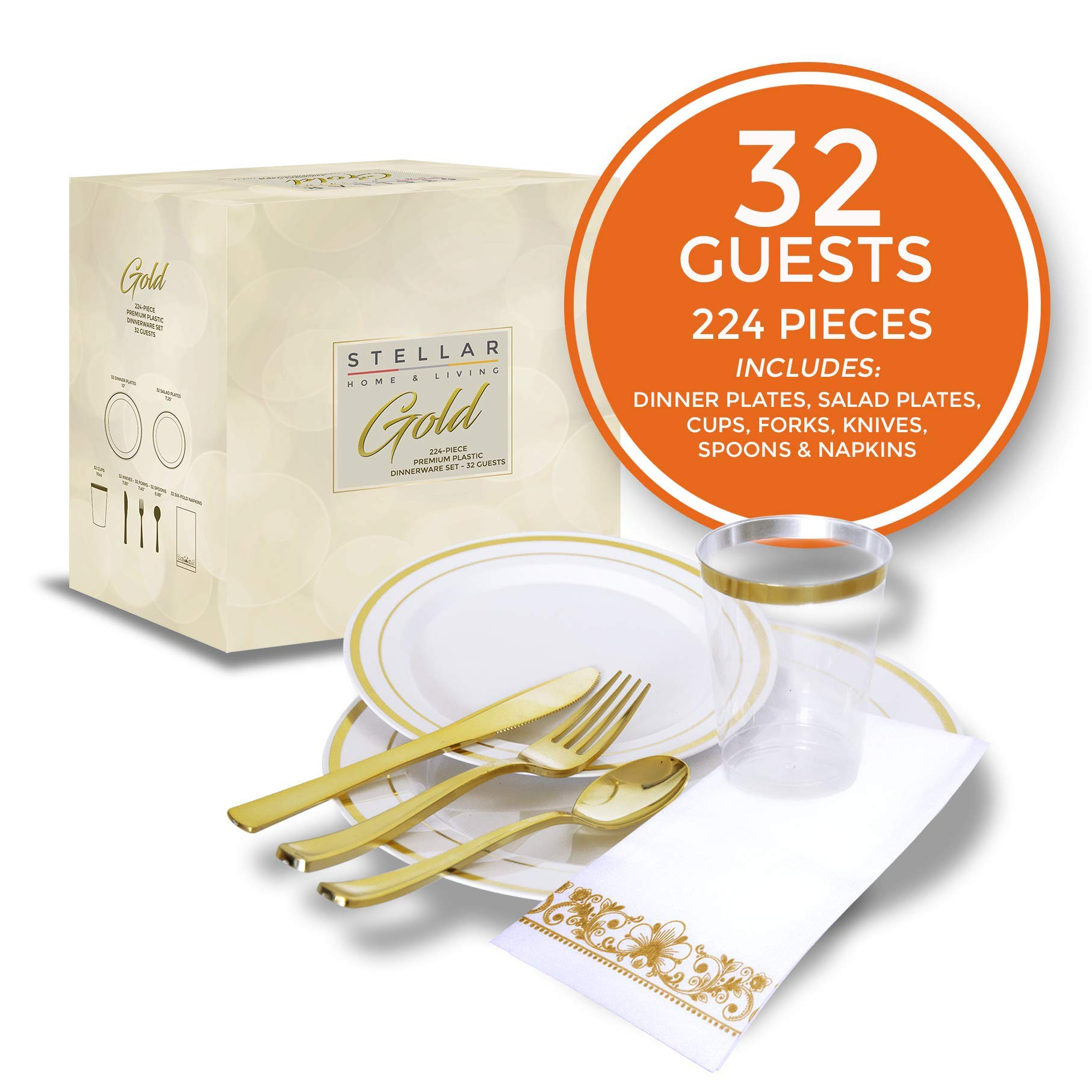 224 pcs Gold Party Dinnerware Set for 32 Guests|Disposable Gold Plastic Plates with Gold Rimmed Cups Silverware and Napkins|Ideal for Parties, Weddings, Thanksgivings|Heavyduty Hard for 30+ Guests