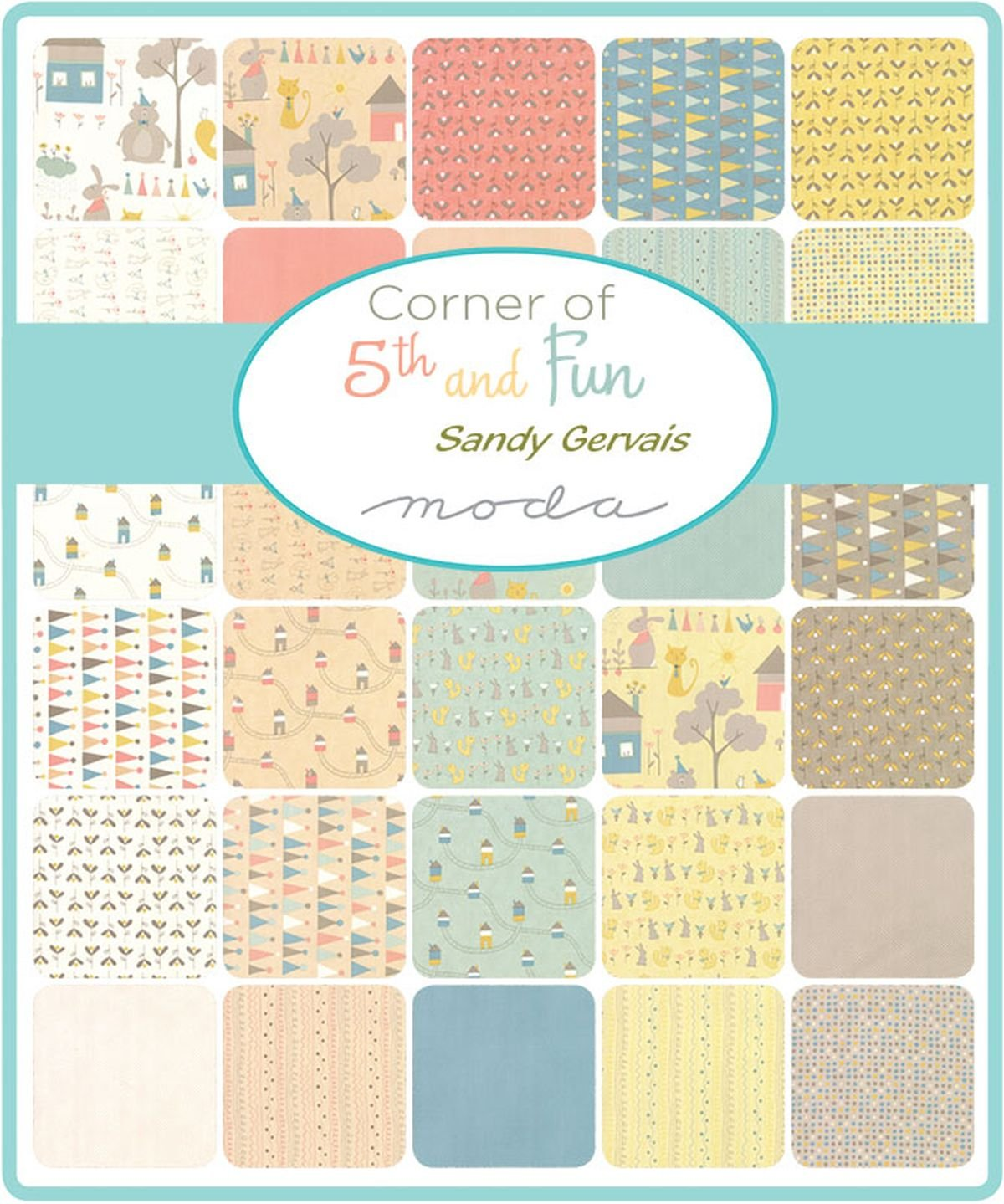 Corner of 5th /& Fun Mini Charm Pack by Sandy Gervais; 42-2.5 Precut Fabric Quilt Squares