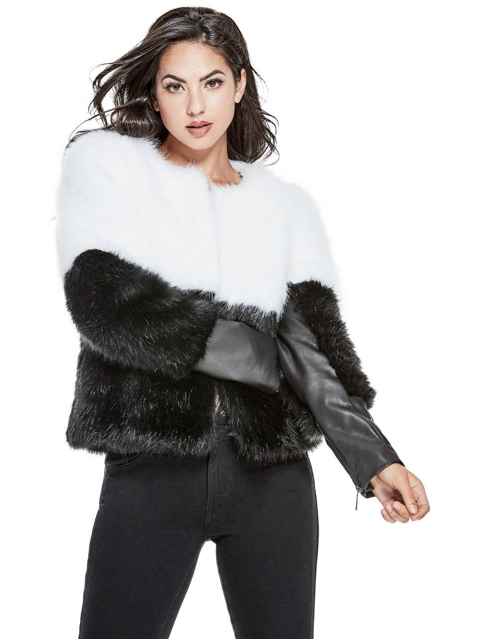 Guess Women's Long Sleeve Sammi Faux Fur Jacket, Jet Black/Multi, L
