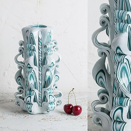 Große, Weiße Und Türkise Hawdala Kerze   Sanfte Farben   Dekorativ  Geschnitzte Kerzen