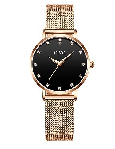 24a97811094b CIVO Relojes para Mujer Reloj Damas de Malla Impermeable Silm Minimalista  Elegante Banda de Acero Inoxidable