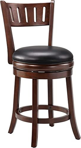 Ball Cast Counter Height Swivel Barstool HSA-1106B-2, 24-Inch,1-Pack, Cappuccino-open vertical back