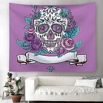 Calavera flores pared Alfombra Halloween Cráneo hippie bohemio pared tapiz adornos pared toalla Mantel playa toalla decorativa 100 x 150 cm 2: Amazon.es: ...