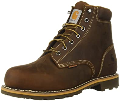 7ae6469f6403 Carhartt Men s 6 Inch Plain Lug Bottom Soft Toe Industrial Boot Brown Oil  Tanned Leather.