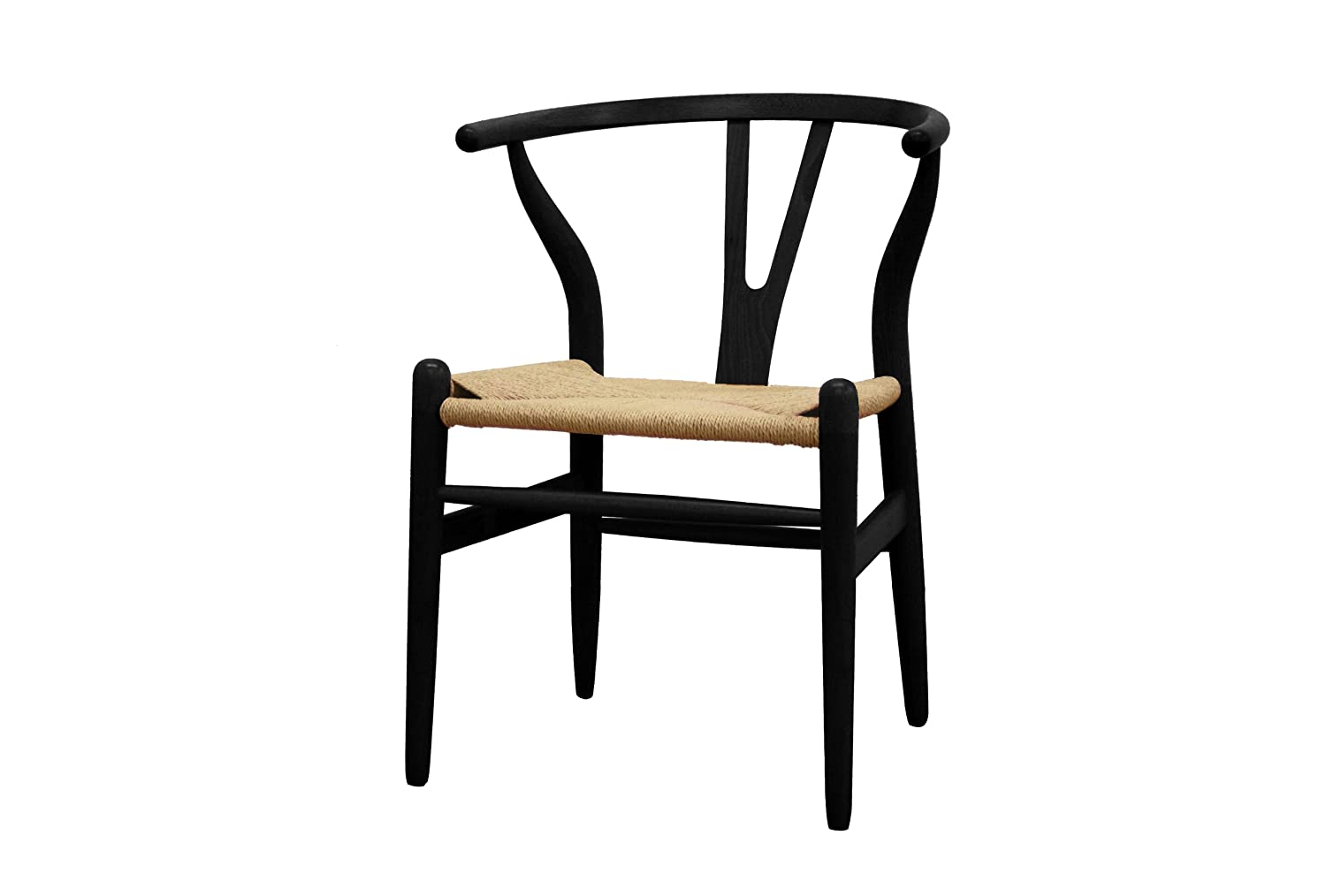Amazon com baxton studio wood wishbone y chair black kitchen dining