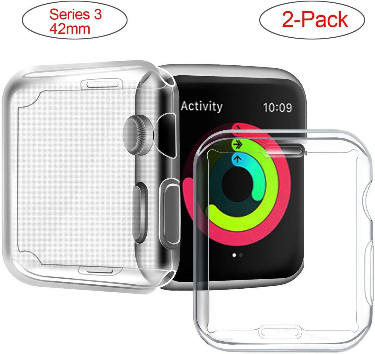 Marphar Series 3/2 42mm Case Compatible with Apple Watch Screen Protector, Overall Protective Case TPU High Definition Clear Ultra-Thin Cover Compatible with iWatch Case Series 3/2 (2 Pack)