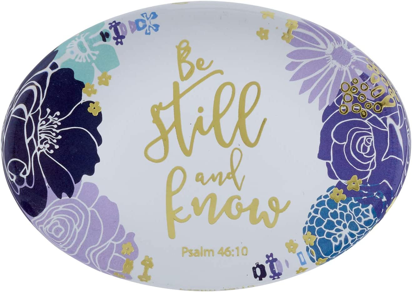 Creative Brands Bouquet Collection Oval Glass Paperweight Lavender Floral with Scripture, 3.5 x 3.5-Inches, Be Still-Psalm 46:10