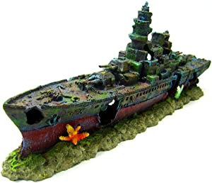 Warship Cave Aquarium Ornament L 49cm - NAVY Battleship ship decor Shipwreck PET by Aquarium Equip