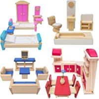 Toydaze Wooden Doll Furniture 5 Room Kit for 1:12 Scale Dollhouse or Pet Shop, Playhouse Miniature Wood Toy Furniture…