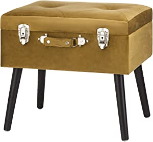 Glitzhome Velvet Foot Stool Seat Storage Footrest Stool Modern Dressing Upholstered Vanity Stool Padded Ottoman with Tufted Seat Wood Legs Decorative Accent Furniture Shoes Bench, Golden Brown