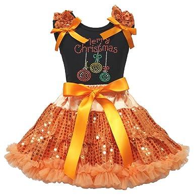 Carcasa Merry Christmas negro camiseta naranja lentejuelas falda ...