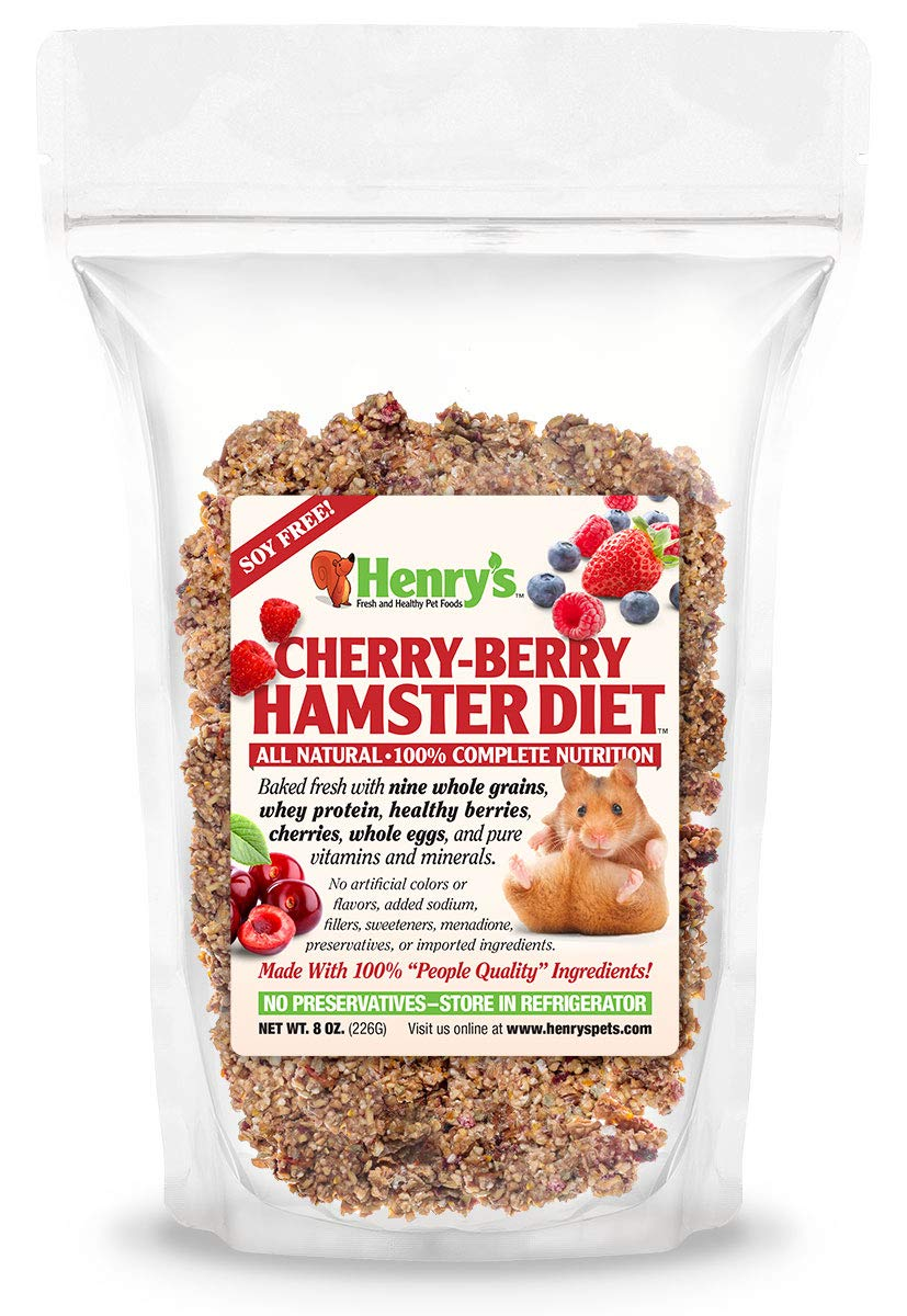 Henry's Cherry Berry Hamster Food - The Only All Natural Baked Fresh to Order, 8 Ounces by Henry's Healthy Pets