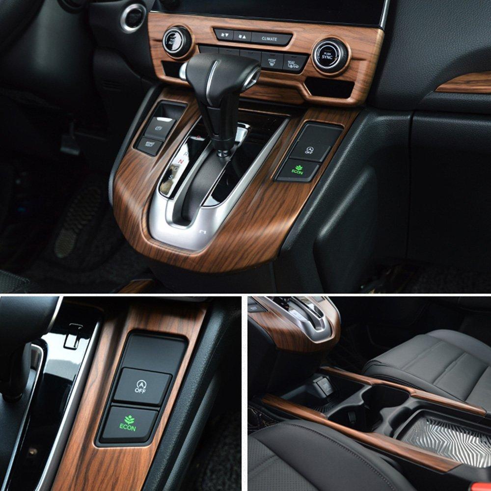 Gear Shift Panel Cover Saihisday Peach Wood Grain Inner Gear Shift Panel Cover Water Cup Holder for Honda CRV CR-V 2017 2018