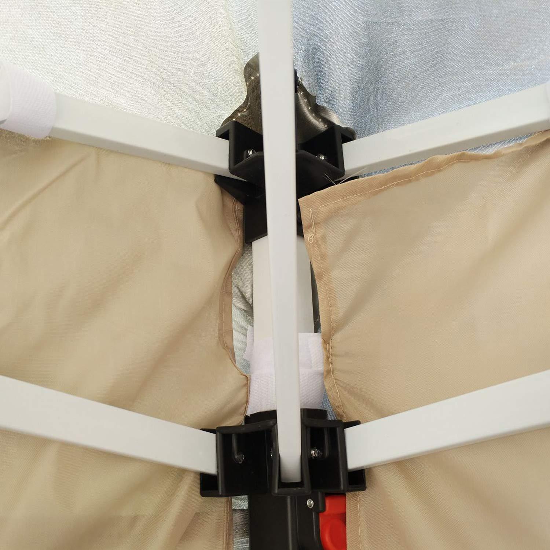 DlandHome 3 x 3 m Carpa Cenador Plegable a acorde/ón con Bolsa de Transporte incluida para Exterior para Patio Jard/ín Camping Fiesta Tienda Eventos Beige