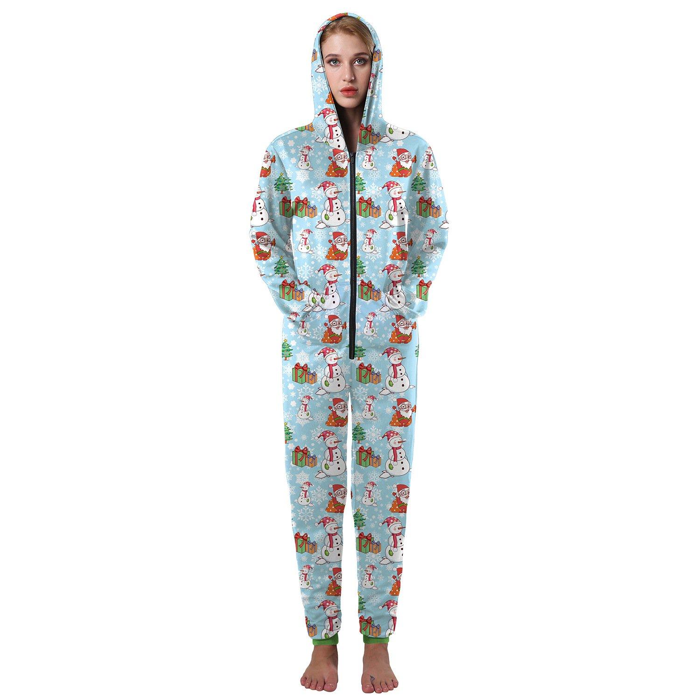 Navidad Ropa COS Pantalones Siameses 3D muñeco de Nieve de impresión otoño y el Invierno Pieza de suéter de Cuerpo de Las Mujeres Sueltan Pijamas de Gran ...