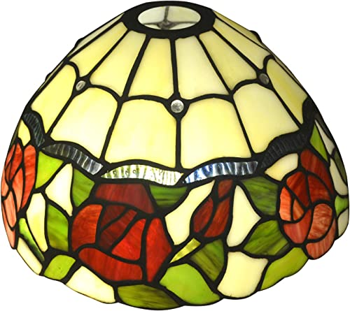NOSHY SH-035 Premium Rose Flower Tiffany Lamp Shades, Multi-Colored, 10-Inch Width, Exclusion Accessories, Pack of 1