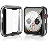 Misxi 【2枚セット】 Apple Watch Series 4 44mm ケース, 全面保護 耐衝撃 メッキ 柔らかい TPU ウオッチ保護ケース超薄型カバー新しい アップルウォッチシリーズ 4 44mm ケース (1 ブラック + 1 クリア)